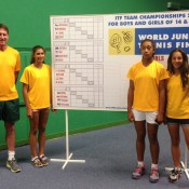 Australia's girls' team at the ITF World Junior Tennis Finals in Prostejov, Czech Republic; (L-R) captain Simon Youl, Jaimee Fourlis, Destanee Aiava and Seone Mendez; Tennis Australia