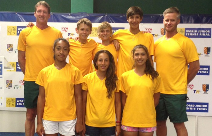 The Australian boys' and girls' teams at the World Junior Tennis Finals in Prostejov, Czech Republic - (back row L-R) girls' captain Simon Youl, Alex De Minaur, Kody Pearson, Alexei Popyrin, boys' captain Ben Pyne; (front row L-R) Destanee Aiava, Seone Mendez and Jaimee Fourlis; Tennis Australia