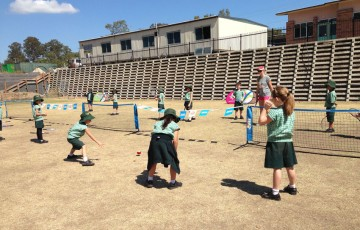 Students enjoy MLC Tennis Hot Shots as part of the AO Blitz's visit to Westside Christian College in Ipswich, Queensland; Tennis Australia