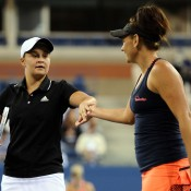 Ash Barty (L) and Casey Dellacqua in action during the US Open women's doubles final; Getty Images