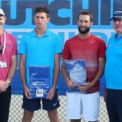 Toowoomba Pro Tour men's champion Adam Feeney (second from right) and runner-up Andrew Whittington (second from left) with tournament sponsor representatives; Tennis Australia