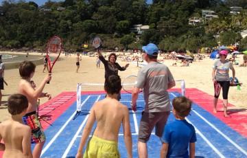 Evonne Goolagong plays MLC Tennis Hot Shots at the AO Blitz event on the Sunshine Coast at Noosa Beach; Tennis Australia