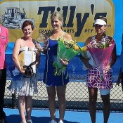 Toowoomba Pro Tour women's champion Isabella Holland (centre) and runner-up Zuzana Zlochova (second from right) with tournament sponsor representatives; Tennis Australia