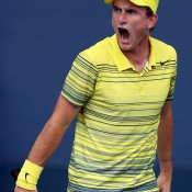 Bradley Mousley gets pumped up during his juniors boys' singles first round match against Gerardo Lopez Villasenor of Mexico on Day 8 at Flushing Meadows; Getty Images