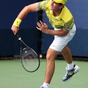 Bradley Mousley of Australia in action during his juniors boys' singles first round match against Gerardo Lopez Villasenor of Mexico at the 2013 US Open; Getty Images