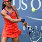 Naiktha Bains, in action during her junior girls' singles first round match against Sandra Samir of Egypt at the US Open, went down 7-6(1) 3-6 6-4; Getty Images