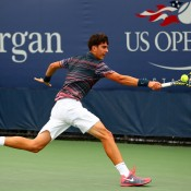 Thanasi Kokkinakis defeated Naoki Nakagawa of Japan 6-3 6-3 in the first round of the US Open boys' singles event in New York City - the 17-year-old has since progressed to the third round; Getty Images