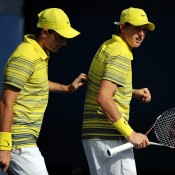 Harry Bourchier (R) and Bradley Mousley of Australia in action during their 7-5 6-4 boys' doubles first round loss to Quentin Halys of France and Frederico Ferreira Silva of Portugal at the US Open in New York; Getty Images