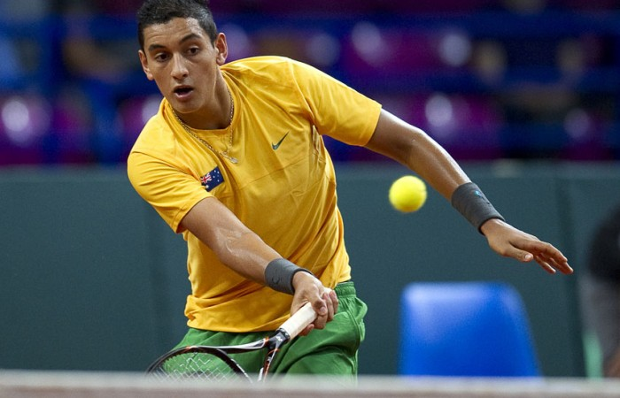 Nick Kyrgios in action during the Davis Cup doubles rubber between Australia and Poland at the Torwar Hall in Warsaw, Poland; Getty Images