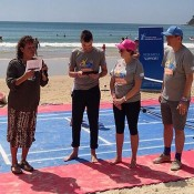 Evonne Goolagong Cawley (L) helps launch the first ever fundraising partnership between Tennis Australia, the National Breast Cancer Foundation and Prostate Cancer Foundation of Australia as part of the AO Blitz in Noosa; Tennis Australia
