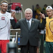 (L-R) Lukasz Kubot, former Polish president Lech Walesa and Lleyton Hewitt prior to the opening rubber of the Australia v Poland Davis Cup World Group Play-off tie at the Torwar Hall in Warsaw, Poland; Getty Images
