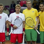 (L-R) Mariusz Fyrstenberg and Marcin Matkowski of Poland and Chris Guccione and Nick Kyrgios of Australia prior to the doubles rubber in the Australia v Poland Davis Cup World Group Play-off tie in Warsaw, Poland; Getty Images