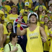 The Fanatics in full voice at the Torwar Hall in Warsaw for the Australia v Poland Davis Cup World Group Play-off tie; Getty Images