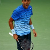 Nick Kyrgios, just 18, fought hard on Louis Armstrong Stadium before falling 7-5 6-3 6-2 to No.4 seed David Ferrer in the first round of the 2013 US Open; Getty Images