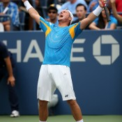 Lleyton Hewitt celebrates his 6-3 7-6(5) 3-6 6-1 third round victory over Evgeny Donskoy of Russia, sending him into the last 16 of the US Open for the first time since 2006; Getty Images