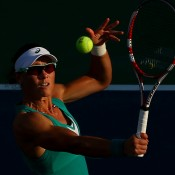 Sam Stosur, volleying in her first round match, was a shock victim of 17-year-old qualifier Victoria Duval - the young American beat Stosur 5-7 6-4 6-4 to end the Australian's US Open campaign; Getty Images
