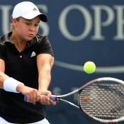 Ash Barty plays a backhand during her 6-4 6-0 second round loss to 32nd seed Anastasia Pavlyuchenkova of Russia at the US Open; Getty Images