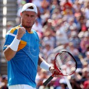 A fired-up Lleyton Hewitt built a lead of two-sets-to-one and 4-1 in the fourth set against Russia's Mikhail Youzhny in the fourth round of the US Open in New York; Getty Images