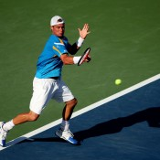 Lleyton Hewitt plays a forehand during his men's singles fourth round match against Mikhail Youzhny of Russia on Day 9 of the 2013 US Open at Flushing Meadows; Getty Images