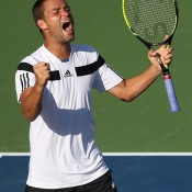Down 5-2 in the fifth set, Mikhail Youzhny stormed back to defeat Lleyton Hewitt 6-3 3-6 6-7(3) 6-4 7-5 in their fourth round match on Day 9 of the US Open at Flushing Meadows in New York City; Getty Images
