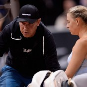 Maria Sharapova (R) had been working with Swede Thomas Hogstedt for almost three years before they parted ways following the French Open; a statement from Sharapova said that due to personal reasons, Hogstedt could no longer commit to travelling in the near future, and that they had decided to go their separate ways; Getty Images