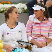 After a brief two-month tenure, Anastasia Pavlyuchenkova (L) and Martina Hingis ended their partnership following the French Open. It was reported that they disagreed on preparation methods; Getty Images