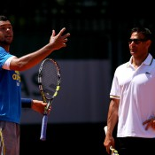 Jo-Wilfried Tsonga (L) and Roger Rasheed parted ways after less than a year; according to Tsonga this was due to a language barrier and the difficulties that arose from having home bases far away from one another; Getty Images