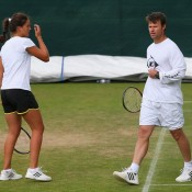 Laura Robson's (L) second coaching split of 2013 was revealed this week; she parted ways with British coach Miles Maclagan after just four months, a partnership which began on a high with her fourth round run at Wimbledon but has since coincided with fewer victories; Getty Images