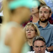 Jimmy Connors' (bottom right) stint as Maria Sharapova's new coach following her partnership with Hogstedt lasted just one match - the Russian crashed out in her opening match at the Cincinnati Masters, and Connors was soon back in California; Getty Images