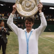 Seen here hoisting the women's singles trophy at Wimbledon in 1970, Australian legend Margaret Court produced an almost perfect season that year, winning the calendar-year Grand Slam, capturing an astonishing 21 titles and finishing the year with a win-loss record of 109-6, a success rate of .948. Court also cracked the 100+ barrier in 1973, where she went 102-5 and won three major titles; Getty Images