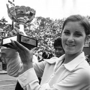 Chris Evert holds the Roland Garros women's singles trophy after winning the title in 1974, part of a stunning 49-match winning streak that also took in the 1974 Wimbledon title. Evert would finish the season with a record of 100-7, becoming just the second (and last) woman to crack the magical 100 mark; Getty Images