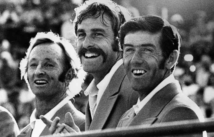 Nov 1973:  The Australian Davis Cup team for the Finals against The USA in Cleveland. The ''old boys'',  Laver (L) and Rosewall (R),  are recalled to the team alongside John Newcombe (centre). Mandatory Credit: Allsport Hulton/Archive