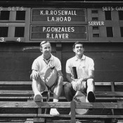 22nd August 1967:  Australian tennis stars Rod Laver (left) and Ken Rosewall take a break from a practice session. Laver holds a Dunlop racket while Rosewall's is by Slazenger.  (Photo by Robert Stiggins/Express/Getty Images)