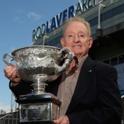 MELBOURNE, AUSTRALIA - OCTOBER 24:  Rod Laver poses for photos after the launch of Rod Laver's official memoirs at Rod Laver Arena on October 24, 2013 in Melbourne, Australia.  (Photo by Robert Prezioso/Getty Images)