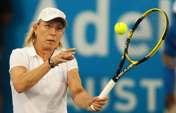 Martina Navratilova competes during the 2013 World Tennis Challenge at Memorial Drive in Adelaide, Australia; Getty Images