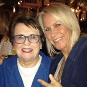 Rennae Stubbs (R) poses with Billie Jean King on her