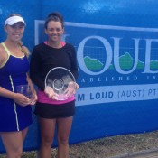 Casey Dellacqua (R) poses with the champion's trophy alongside finalist Tammi Patterson after winning the WM Loud Bendigo International #2; Tennis Australia