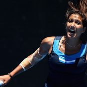 Jaimee Fourlis in action during the Australian Open 2017 Play-off final at Melbourne Park; Getty Images