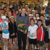 Jelena Dokic and students at St Charbel's College in Punchbowl as part of the recent AO Blitz event in Bankstown; Tennis Australia