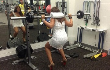 Marion Bartoli completes her final half-squat in the gym shortly after retiring from professional tennis; credit Marion Bartoli via Twitter