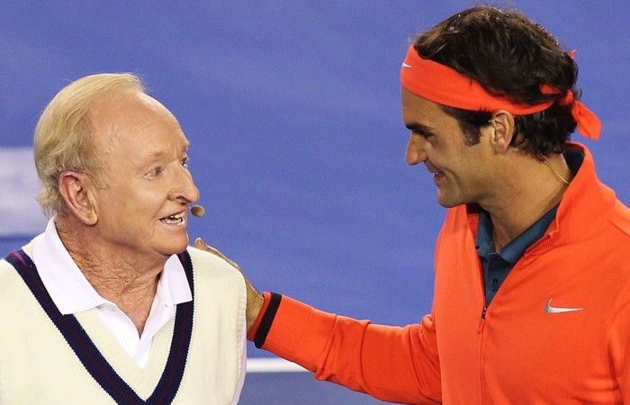Rod Laver (left) and Roger Federer, Australian Open, 2014. GETTY IMAGES