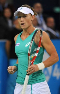 Sam Stosur in action during her finals loss to Simona Halep at the WTA Tournament of Champions in Sofia, Bulgaria; Desislava Kulelieva