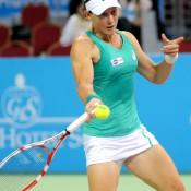 Sam Stosur in action during her semifinal victory over Anastasia Pavlyuchenkova at the WTA Tournament of Champions in Sofia, Bulgaria; Desislava Kulelieva