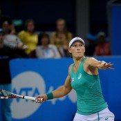 Sam Stosur in action during her semifinal victory over Anastasia Pavlyuchenkova at the WTA Tournament of Champions in Sofia, Bulgaria; Desislava Kulelieva
