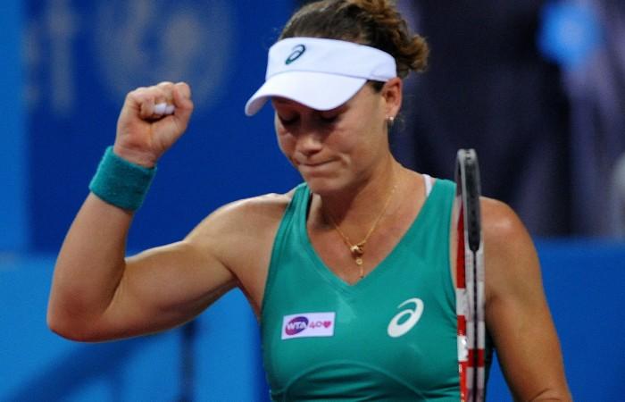 Sam Stosur celebrates her semifinal victory over Anastasia Pavlyuchenkova at the WTA Tournament of Champions in Sofia, Bulgaria; Desislava Kulelieva