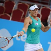 Sam Stosur in action during her round-robin victory over Tsvetana Pironkova at the WTA Tournament of Champions in Sofia, Bulgaria; Desislava Kulelieva