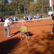 Sam Stosur (L) and Anastasia Pavlyuchenkova conduct a tennis clinic in Sofia, Bulgaria; WTA