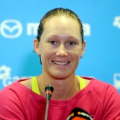 Sam Stosur speaks to the press prior to her participation at the WTA Tournament of Champions in Sofia, Bulgaria; Desislava Kulelieva
