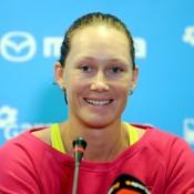 Sam Stosur speaks to the press prior to her participation at the WTA Tournament of Champions in Sofia, Bulgaria; Desislava Kulelieva
