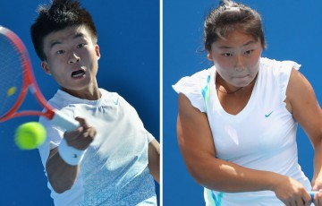 Wu Di (L) and Tang Hao Chen have secured main draw wildcards at Australian Open 2014 after winning the Asia-Pacific Australian Open Wildcard Play-off in Shenzhen, China; Getty Images